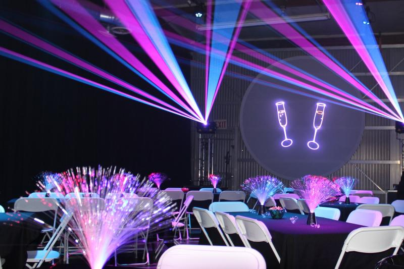 Gender party tables, settings and laser effects